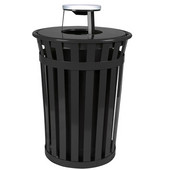 Oakley Slatted Metal Waste Receptacle with Ash Urn Lid, 28'' Dia. x 44-1/4''H, 36 gal, Black