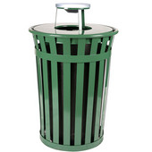 Oakley Slatted Metal Waste Receptacle with Ash Urn Lid, 28'' Dia. x 44-1/4''H, 36 gal, Evergreen