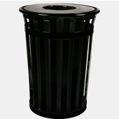 Oakley Slatted Metal Waste Receptacle with Flat Top Lid, 28'' Dia. x 36''H, 36 gal, Black