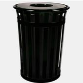 Oakley Slatted Metal Waste Receptacle with Flat Top Lid, 28'' Dia. x 36''H, 36 gal, Black