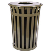 Oakley Slatted Metal Waste Receptacle with Flat Top Lid, 28'' Dia. x 36''H, 36 gal, Brown