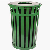 Oakley Slatted Metal Waste Receptacle with Flat Top Lid, 28'' Dia. x 36''H, 36 gal, Evergreen