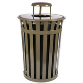 Oakley Slatted Metal Waste Receptacle with Rain Cover Lid and Plastic Liner, 36 Gallons, 28''Dia. X 44-1/4''H, Brown