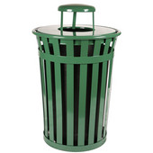 Oakley Slatted Metal Waste Receptacle with Rain Cover Lid and Plastic Liner, 36 Gallons, 28''Dia. X 44-1/4''H, Evergreen