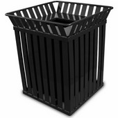 Oakley square, slatted metal receptacle with flat top lid, plastic liner, black, 28''W x 28''D x 32-3/4''H