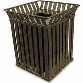 Oakley square, slatted metal receptacle with flat top lid, plastic liner, brown, 28''W x 28''D x 32-3/4''H