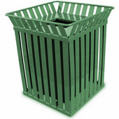 Oakley square, slatted metal receptacle with flat top lid, plastic liner, green, 28''W x 28''D x 32-3/4''H