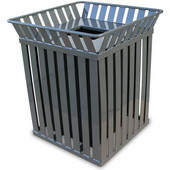 Oakley square, slatted metal receptacle with flat top lid, plastic liner, silver, 28''W x 28''D x 32-3/4''H