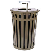 Oakley Slatted Metal Waste Receptacle with Ash Urn Lid, 28'' Dia. x 44-1/4''H, 36 gal, Brown