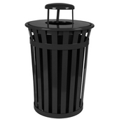 Oakley Slatted Metal Waste Receptacle with Rain Cover Lid and Plastic Liner, 36 Gallons, 28''Dia. X 44-1/4''H, Black