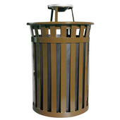 Oakley Slatted Metal Waste Receptacle with Ash Top, Plastic Liner, 28'' Dia. x 44-3/10''H, 50 gal, Brown