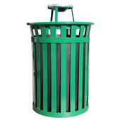 Oakley Slatted Metal Waste Receptacle with Ash Top, Plastic Liner, 28'' Dia. x 44-3/10''H, 50 gal, Green