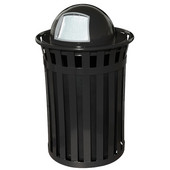 Oakley Slatted Metal Waste Receptacle with Dome Top, Plastic Liner, 28'' Dia. x 45-1/2''H, 50 gal, Black