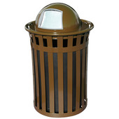 Oakley Slatted Metal Waste Receptacle with Dome Top, Plastic Liner, 28'' Dia. x 45-1/2''H, 50 gal, Brown
