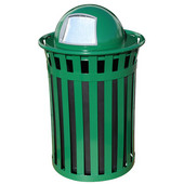 Oakley Slatted Metal Waste Receptacle with Dome Top, Plastic Liner, 28'' Dia. x 45-1/2''H, 50 gal, Green