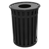 Oakley Slatted Metal Waste Receptacle with Flat Top, Plastic Liner, 28'' Dia. x 36''H, 50 gal, Black