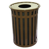 Oakley Slatted Metal Waste Receptacle with Flat Top, Plastic Liner, 28'' Dia. x 36''H, 50 gal, Brown