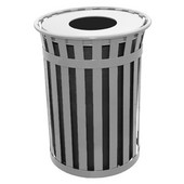 Oakley slatted metal waste receptacle with flat top, plastic liner, silver, 38''Dia x 36''H