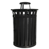 Oakley Slatted Metal Waste Receptacle with Rain Cover Lid, Plastic Liner, 28'' Dia. x 44-3/10''H, 50 gal, Black