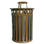 Oakley Slatted Metal Waste Receptacle with Rain Cover Lid, Plastic Liner, 28'' Dia. x 44-3/10''H, 50 gal, Brown
