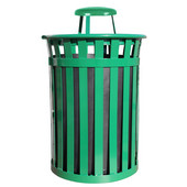 Oakley Slatted Metal Waste Receptacle with Rain Cover Lid, Plastic Liner, 28'' Dia. x 44-3/10''H, 50 gal, Green