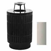 40 Gallon The Mason Outdoor Receptacle With Ash Top In Silver, 23-1/2''Diameter x 42-3/4''H