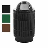 40 Gallon The Mason Outdoor Receptacle With Dome Top In Brown, 23-1/2''Diameter x 44''H