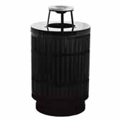 40 Gallon The Mason Outdoor Receptacle With Ash Top In Black, 23-1/2''Diameter x 42-3/4''H