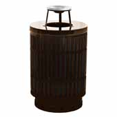 40 Gallon The Mason Outdoor Receptacle With Ash Top In Brown, 23-1/2''Diameter x 42-3/4''H