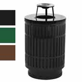 40 Gallon The Mason Outdoor Receptacle With Ash Top In Green, 23-1/2''Diameter x 42-3/4''H