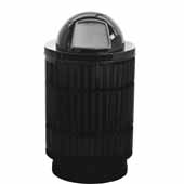 40 Gallon The Mason Outdoor Receptacle With Dome Top In Black, 23-1/2''Diameter x 44''H