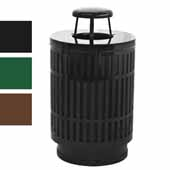 40 Gallon The Mason Outdoor Receptacle With Rain Cap Opening In Silver, 23-1/2''Diameter x 42-3/4''H