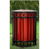 Outdoor decorative receptacle with metal sleeve, Red, Blue, Black or Silver, 26-5/8''Dia x 36''H