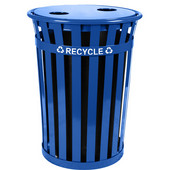 Oakley Slatted Metal Recycling Receptacle with Recycling Flat Top, Plastic Liner, Blue, 36 Gallons, 28''Dia. x 36''H