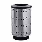 35 Gallon Outdoor Avant Garde Collection Paramount Flat Top Receptacle In Stainless Steel, 18-1/2''Diameter x 33-3/4''H