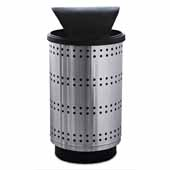 35 Gallon Outdoor Avant Garde Collection Paramount Hood Top Receptacle In Stainless Steel, 18-1/2''Diameter x 33-3/4''H