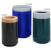 Two Piece Ash 'N Trash, Fiberglass, Round, 50 Gal, Available in Various Top and Base Finishes
