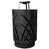 Outdoor receptacle with laser cut design, ash top, plastic liner, black, 24''Dia x 42-7/8''H