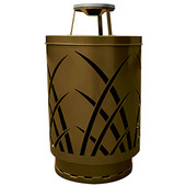 Outdoor receptacle with laser cut design, ash top, plastic liner, brown, 24''Dia x 42-7/8''H