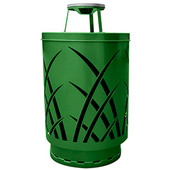 Outdoor receptacle with laser cut design, ash top, plastic liner, green, 24''Dia x 42-7/8''H