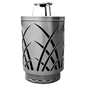 Outdoor receptacle with laser cut design, ash top, plastic liner, silver, 24''Dia x 42-7/8''H