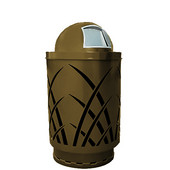 Outdoor receptacle with laser cut design, dome top, plastic liner, brown, 24''Dia x 44''H