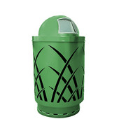 Outdoor receptacle with laser cut design, dome top, plastic liner, green, 24''Dia x 44''H