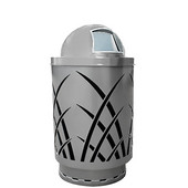 Outdoor receptacle with laser cut design, dome top, plastic liner, silver, 24''Dia x 42-7/8''H