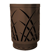 Outdoor receptacle with laser cut design, flat top, plastic liner, brown, 24''Dia x 34-5/8''H