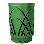 Outdoor receptacle with laser cut design, flat top, plastic liner, green, 24''Dia x 34-5/8''H