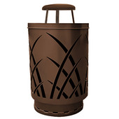 Outdoor receptacle with laser cut design, rain cap, plastic liner, brown, 24''Dia x 42-7/8''H