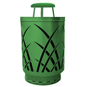 Outdoor receptacle with laser cut design, rain cap, plastic liner, green, 24''Dia x 42-7/8''H