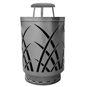 Outdoor receptacle with laser cut design, rain cap, plastic liner, silver, 24''Dia x 42-7/8''H