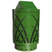 Outdoor receptacle with laser cut design, swing top, plastic liner, green, 24''Dia x 44''H